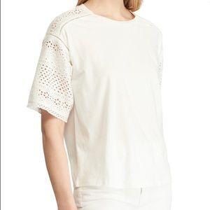 Ralph Lauren Cotton Eyelet Short Sleeve Top size M